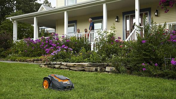 WORX Landroid Robotic Lawn Mower in the garden