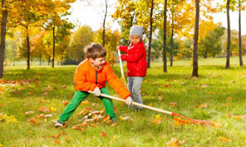 raking leaves with your children