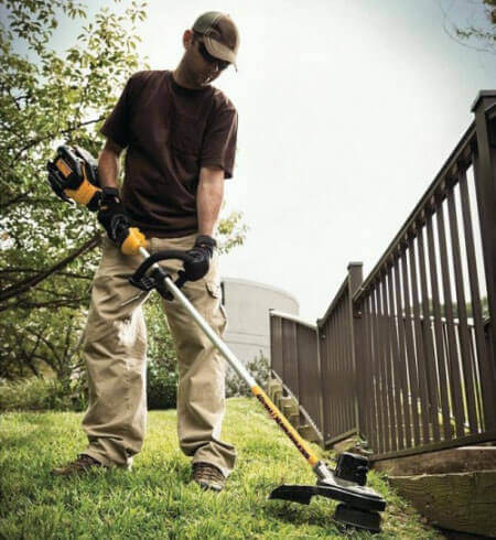 top-rated cordless electric string trimmer by Dewalt