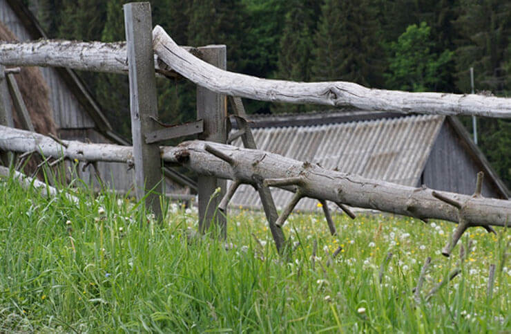 Classic farm style wooden fence